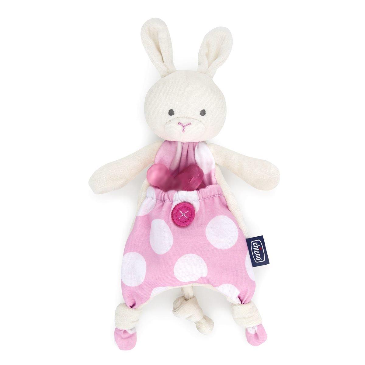 Chicco Pocket Friend - Guarda chupetes de peluche con bolsillo, rosa 00008012100000