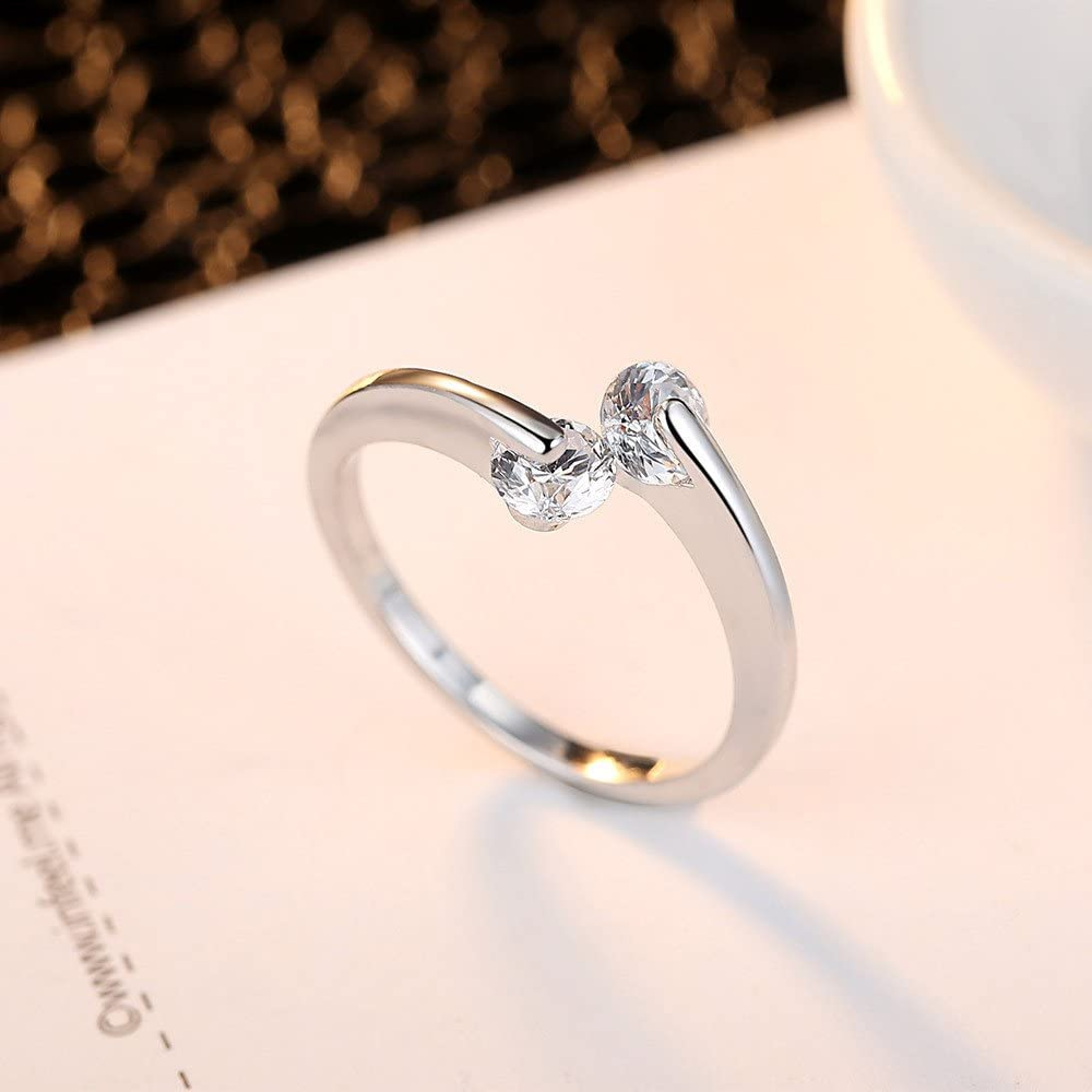 Yiwanjia 2 Diamond Simple Ring Alloy Fashion Ring Daily Life Jewelry Simple Fashion Modern Jewelry