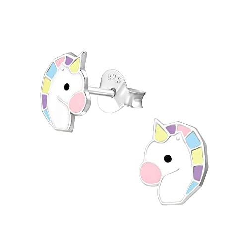 zapatos deportivos c8a83 0041a Herradura De Oro Unicornio Pendientes 925 plata esmalte caballo Niños niña  pendientes M03