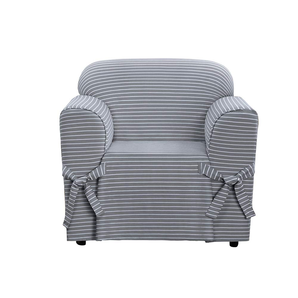 Sure Fit SF46203 Horizontal Club Stripe 100% Cotton 1 Piece Chair Slipcover, Limestone Gray Surefit Inc.