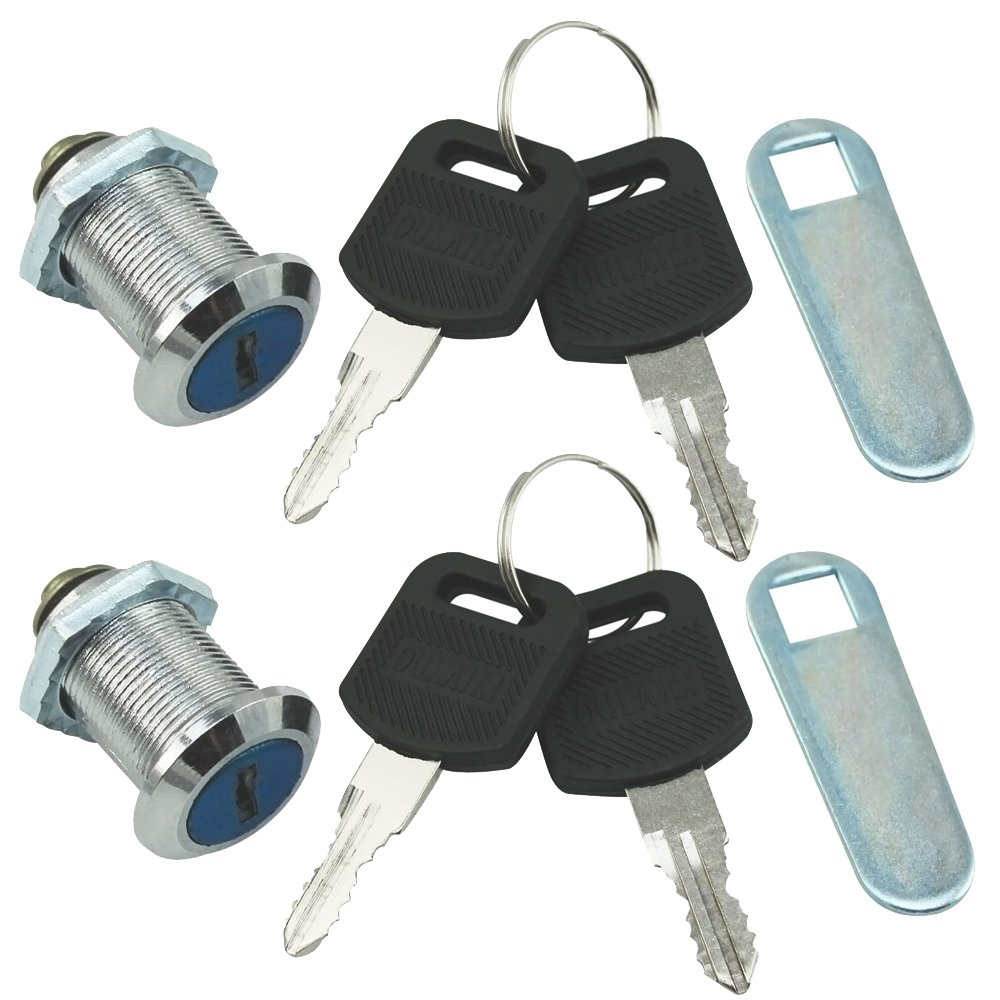 COM-FOUR® 2X Serratura per mobili Serratura per mobili Serrature per Cassette postali, 16 mm di profondità (02 Pezzi 16 mm Staffa Diritta)