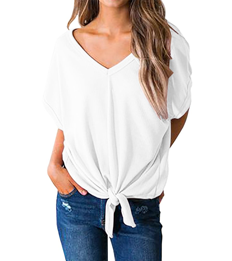 Imily Bela Womens Casual Ribbed Scoop V Neck Blouses Bow Knot Front Plain Tee Tops