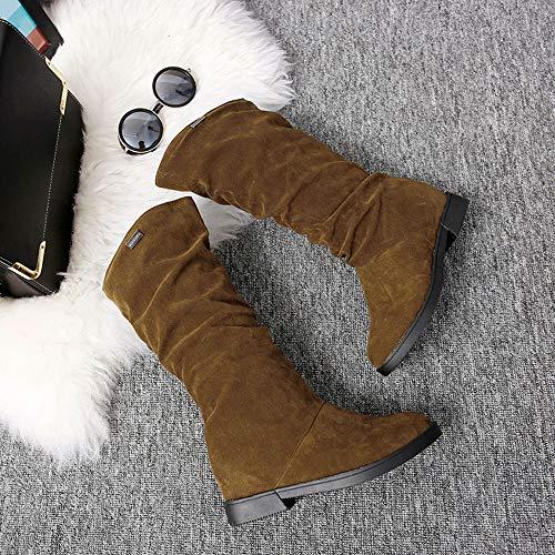 Stivale Flock Neve Piatta Dolce Stivali Casual Inverno Fashion Primavera Amuster Donna Marrone Semplice Scarpa Elegante Autunno OvwqFFx4