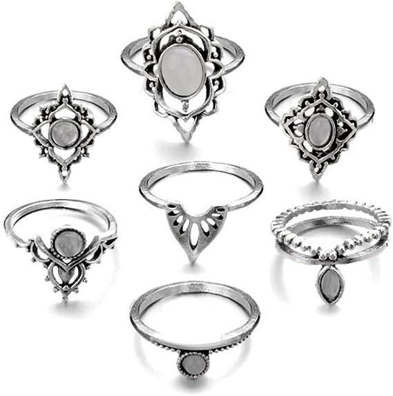 Juego de 7 anillos para mujer y niña, diseño vintage de bohemio de ...