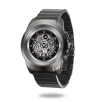 MyKronoz ZeTime Elite Reloj Inteligente híbrido 39mm con Agujas mecánicas sobre una Pantalla a Color táctil – Petite Cepillado Titanio/Modern Link