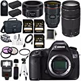 Canon EOS 5DS-R 5DSR DSLR Camera + EF 24-70mm f/2.8L II USM Lens + Canon EF 75-300mm f/4-5.6 III Telephoto Zoom Lens + Canon EF 50mm f/1.8 STM Lens + LPE-6 Lithium Ion Battery Bundle 16