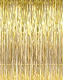 Fun Express - Metallic Gold Foil Fringe Curtains Door Window Curtain Party Decoration (3 Feet by 8 Feet) (3 Inches x 8 Inches) (Gold), (Pack of 2)