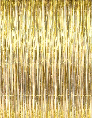 Metallic Gold Foil Fringe Curtains(3 ft X 8 ft) Door Window Curtain Party Decoration (1) -