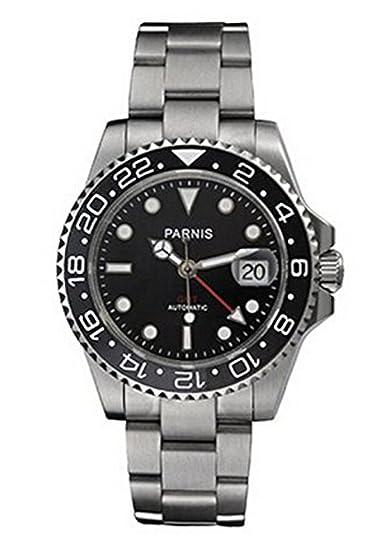 PARNIS Unisex p101506 analógica Pulsera mecánico automático para Hombre Reloj de Acero Inoxidable de Plata: Amazon.es: Relojes