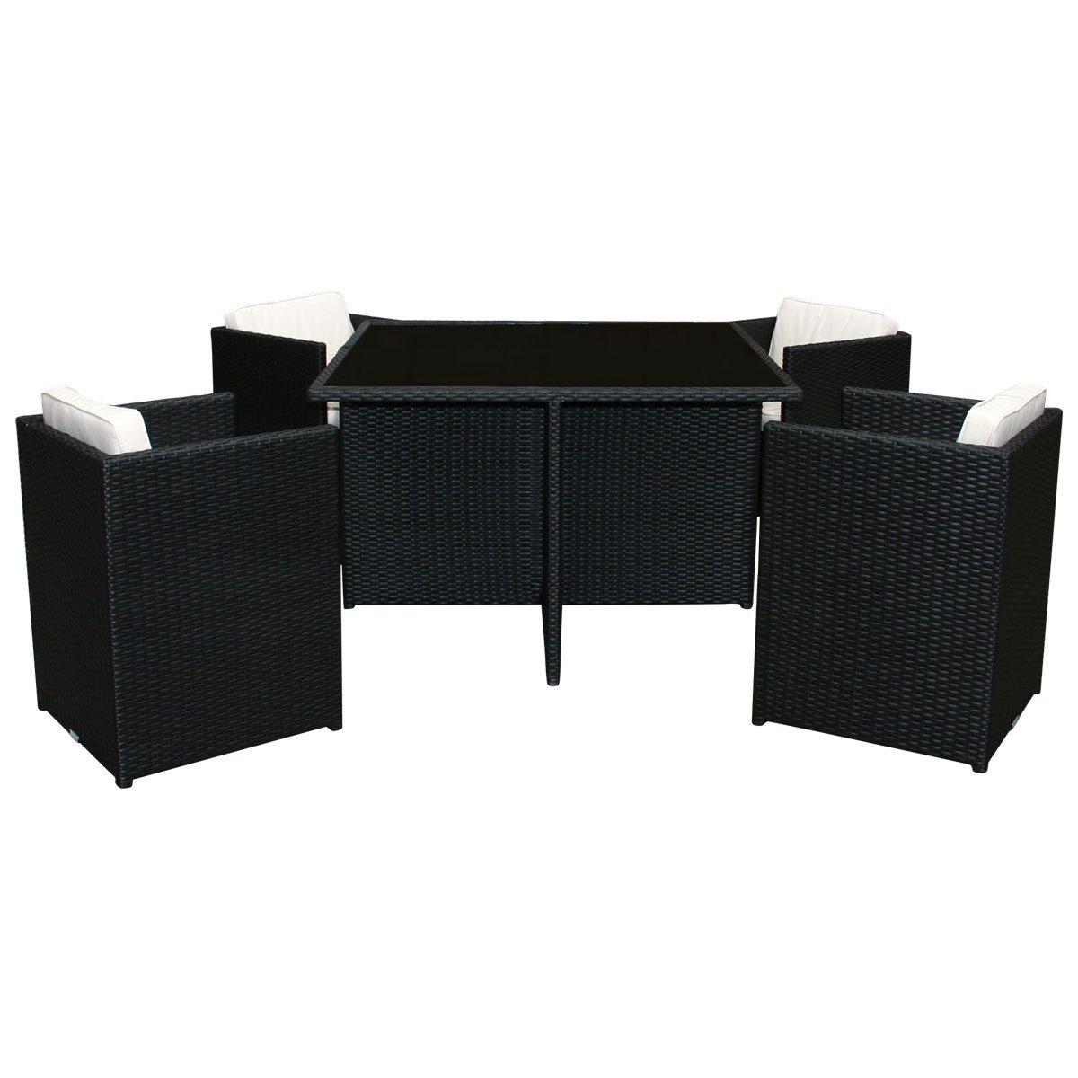 Bentley Garden - Korbmöbel-Set - Rattan-Optik - Glastisch & 4 Stühle - Schwarz & Creme - 5-teilig