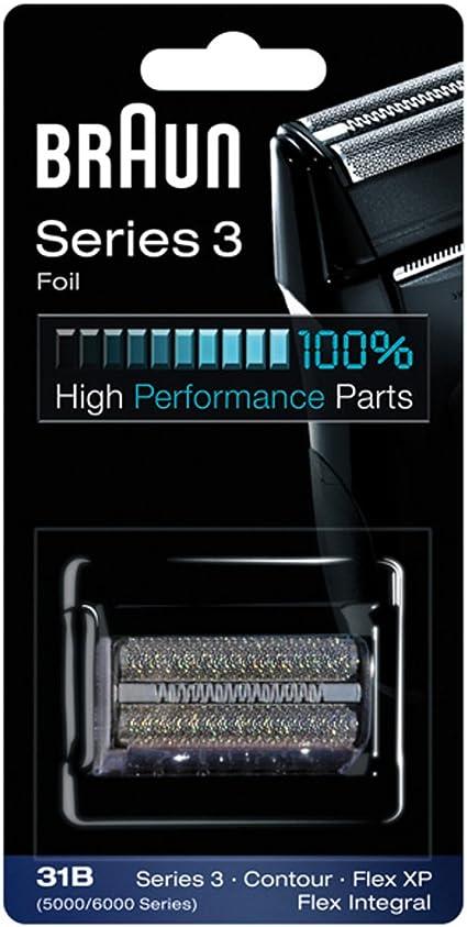 Braun - Láminas 31B - Láminas de recambio para afeitadoras Series 3/Contour Series/Flex XP II/Flex XP/Flex integral negra: Amazon.es: Salud y cuidado personal