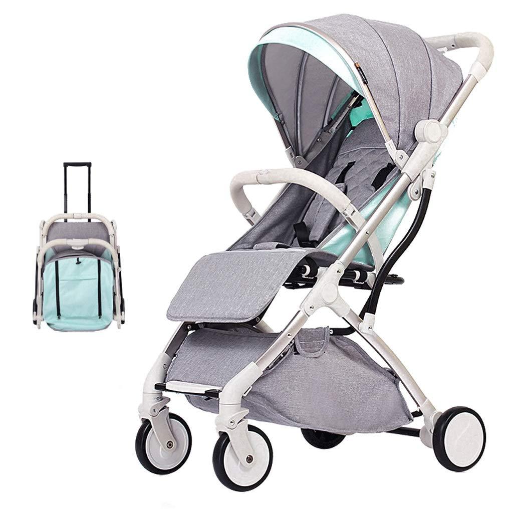 超軽量ポータブルベビーカープッシュチェアプルーブタイプショックプルーフリクライニングトラベル幼児バギーポラム、03歳の赤ちゃんに適した5点安全ベルト (色 : Gray)  Gray B07L5MBZ1G