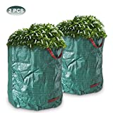 Powstro 2 PCS Garden Waste Bags, Large Reusable Lawn, Leaf & Garden Waste Bag, Heavy Duty Gardening Containers Bags, 270L, Collapsible