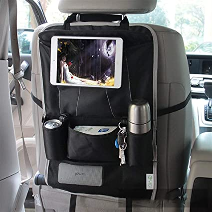 with 10.1 iPad//Tablet Holder Touch Screen,Waterproof Seat Covers for The Back of Your Seat Aoafun 2 Pack Kick Mats Car Seat Back Protectors Backseat Organizer Black Car Back Seat Protectors