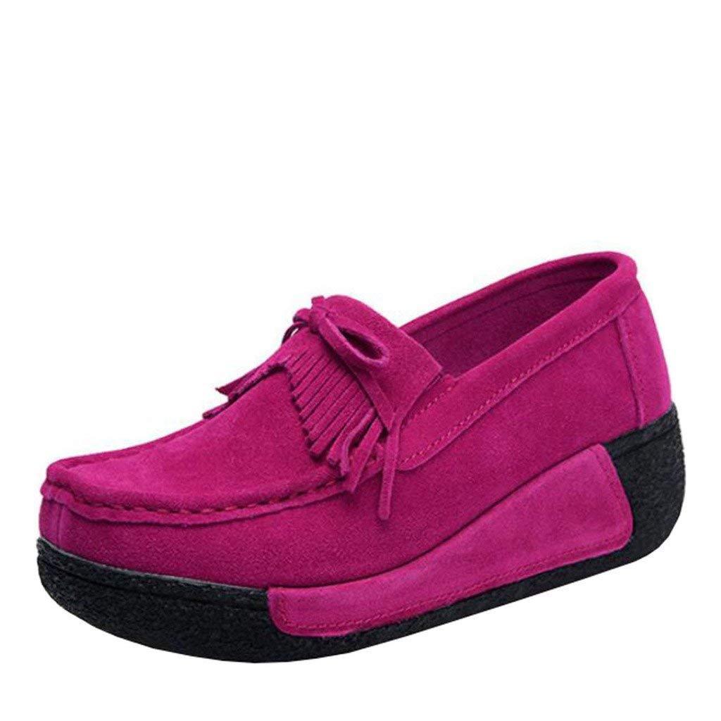 Fuxitoggo Damen Bowknot Round-Toe Flache Slip-on Quaste Loafers (Farbe   Rosa Größe   2 UK)