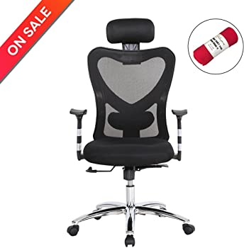 HollyHOME High Back Mesh Office Chair with Adjustable Headrest