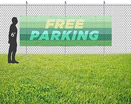 Free Parking Modern Gradient Wind-Resistant Outdoor Mesh Vinyl Banner 9x3 CGSignLab
