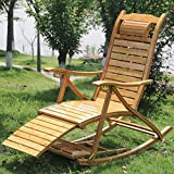 Lazy chair Chunlan Solid Wood Bamboo Rocking Chair Folding Chair Leisure Summer Chair Balcony Old Man Recliner (Color : B)