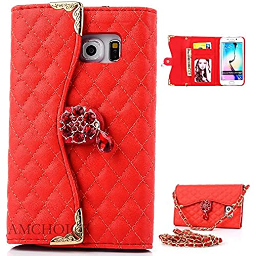 S7 Case,Galaxy S7 Case, Samsung Galaxy S7 Case, AMCHOICE(TM) (Long Chain)(Red) PU Leather Wallet Case For Samsung Galaxy S7 (Free Sales