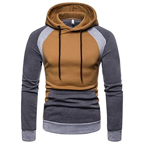 Feibeauty Sweat Shirt à Capuche Homme Pullover Manches