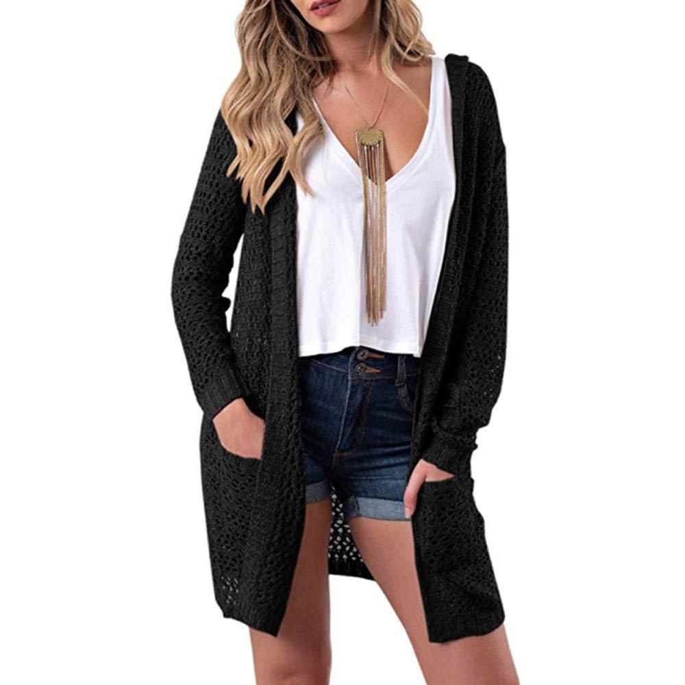 POHOK Women's Hooded Long Sleeve Knitwear Open Front Cardigan Sweaters Outerwear