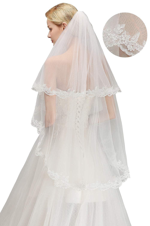MisShow Elegante Brautschleier fü r Hochzeit junggesellenabschied mit Kamm applikation Lä nge 150CM TTMMCPA1437-Mi