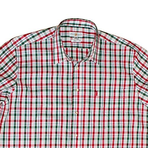 Original ALMSACH Herren Trachten und Freizeithemd im Karo Design Red Tanne Sportlicher Basic Schnitt Hemd Oktoberfest Bügelfrei Made in Germany LF551RED
