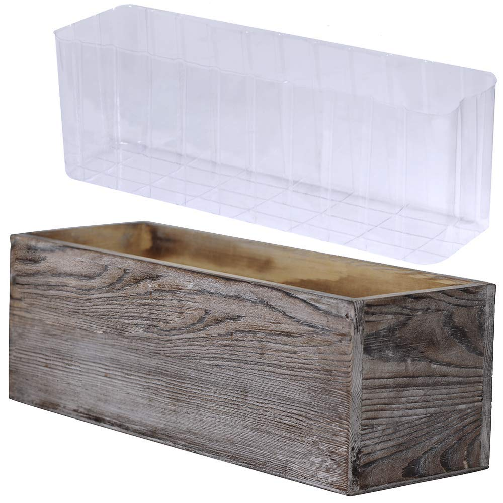 1 Pcs Wood Planter Box Rectangle Whitewashed Wooden Rectangular Planter with Inner Plastic Box – 11.5 L x 3.75 W x 3.75 H Floral Natural Centerpieces Rustic Wedding Decoration