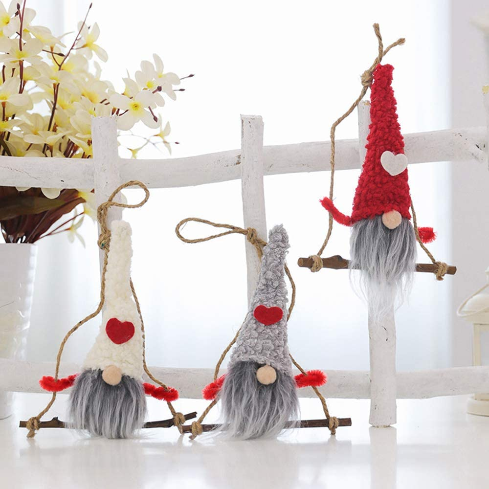 Emopeak Gnome Christmas Ornaments Set of 3, Handmade Swedish Tomte Gnomes Plush Scandinavian Santa Elf Table Ornaments Christmas Tree Hanging Decoration Home Wooden Decor