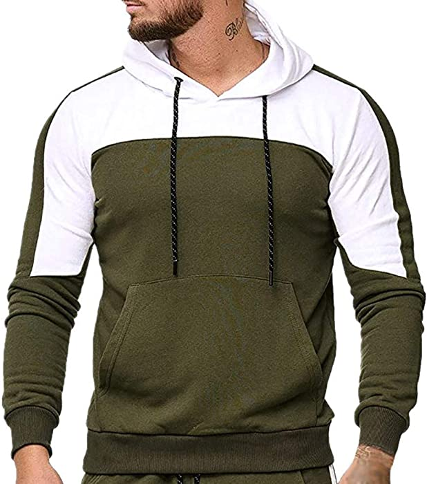 b525f5756 OWMEOT Men's Autumn Winter Hooded Pocket Sweatshirt Top Pants Sets ...
