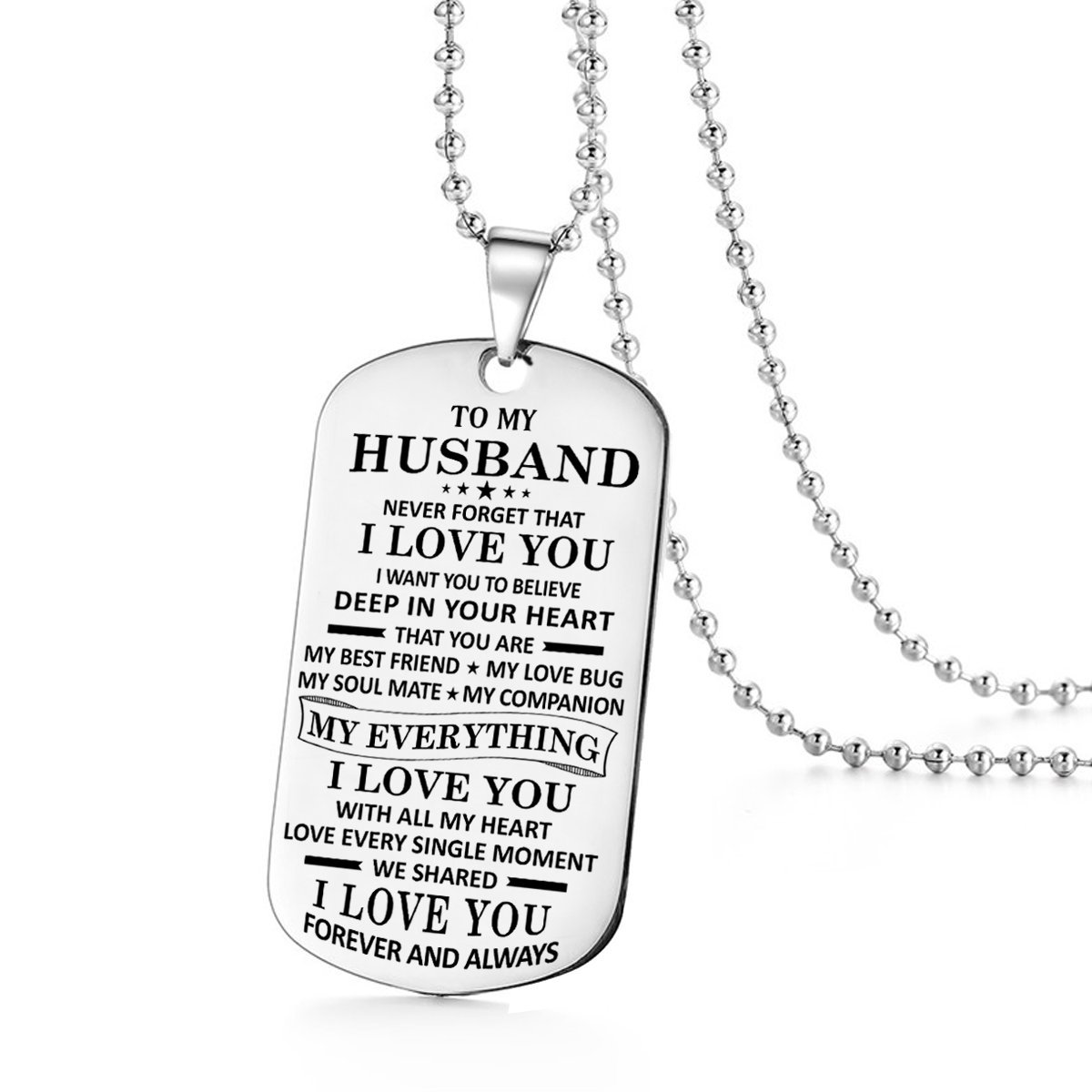 Stashix To My Husband I Love You Forever Dog Tags Necklace From Wife Birthday Gift Jewelry Graduation Military Anniversary for Him Personalized