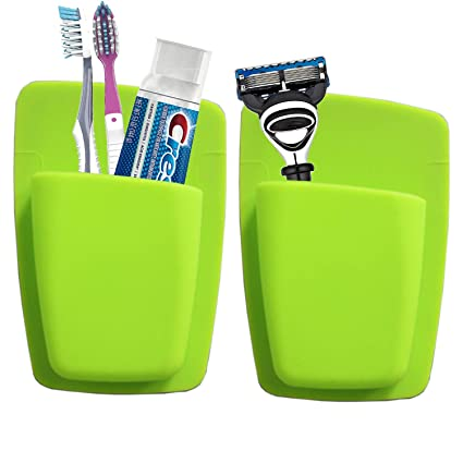 Bathroom Storage Organizer Silicone Toothbrush Holder Wall Mounted Durable Small Toothpaste Storage Toiletry Items Razor Holder