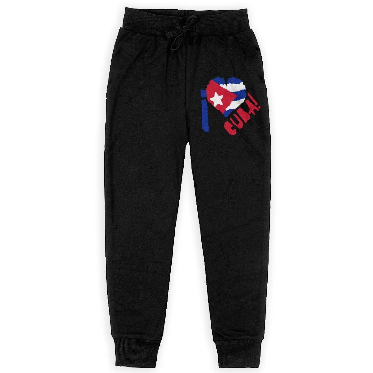 I Love Cuba Soft//Cozy Sweatpants Girls Active Basic Jogger Fleece Pants for Teen Boy
