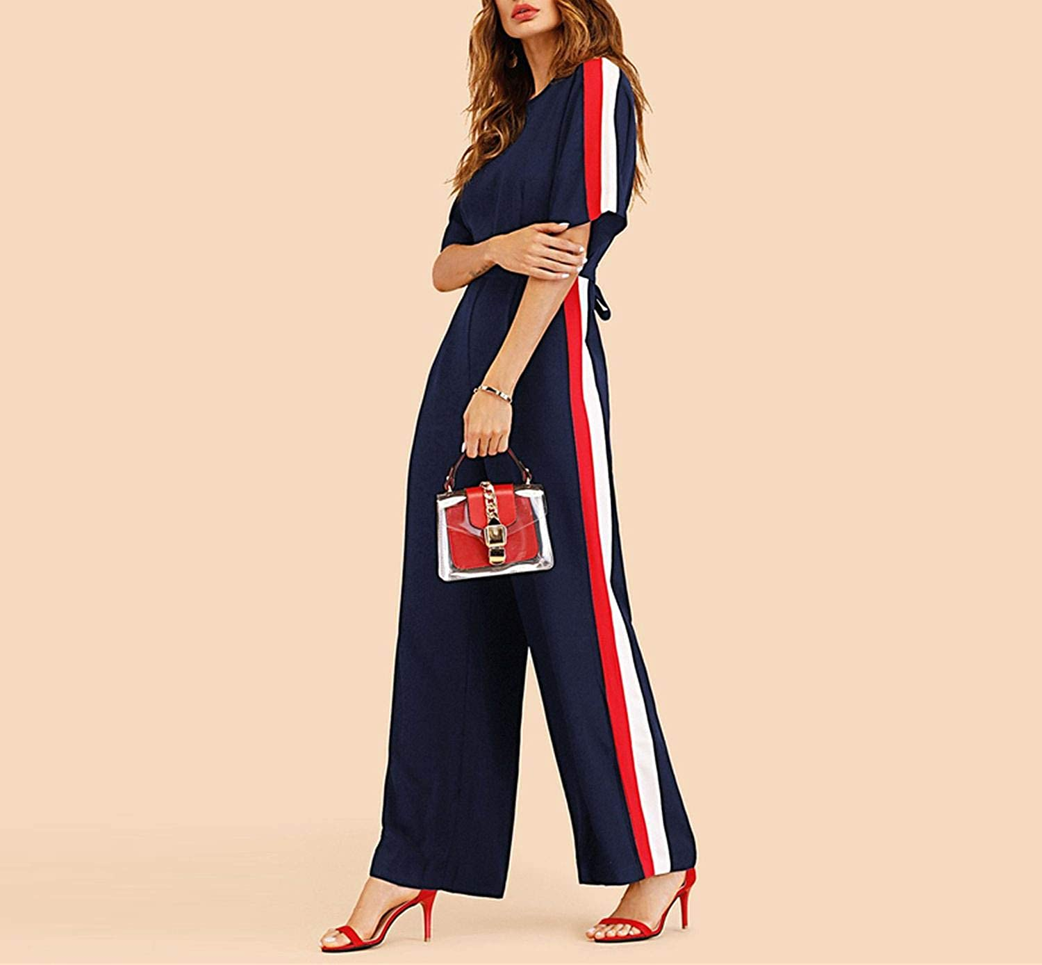 AMAZING AMAZING Navy Striped Side Work Elegant Wide Leg Jumpsuit Half Sleeve High Waist 2018 Autumn Women Jumpsuits