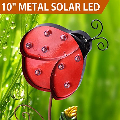 Bon Bright Zeal 10u0027u0027 Big METAL Ladybug Solar Lights Yard Art   Outdoor Garden  Decorations