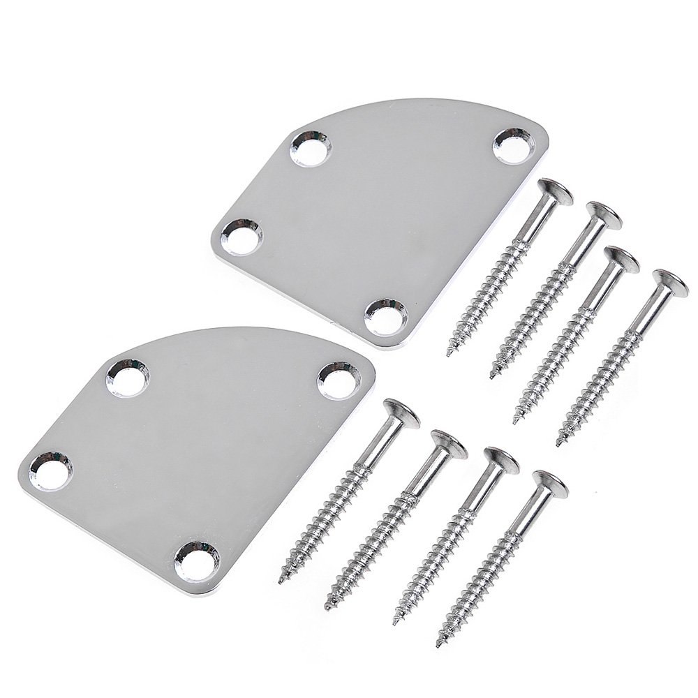 2pcs Chrome Semi Round Neck Mounting Plate for Electric Guitar