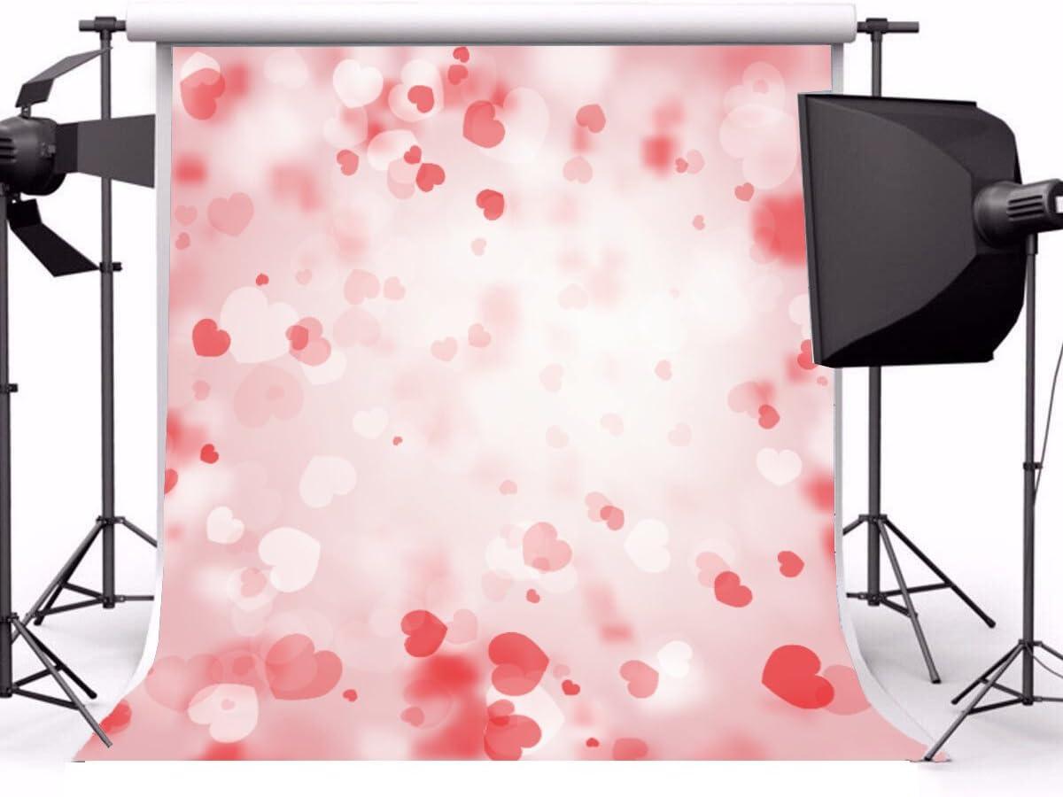 Baocicco 10x10ft Vinyl Backdrop Happy Valentines Day Photography Background Shaped Hearts Pattern Pink Backdrop Wedding Bokeh Backdrop Children Kids Lovers Girls Portrait Photo Studio