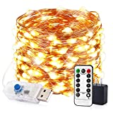 innotree LED String Lights, 33ft 100 LED USB Plug in Fairy Lights, 8 Modes Dimmable Copper Wire Lights with Remote Control + UL Adapter for Bedroom, Patio, Parties(IP65 Waterproof, Warm White)