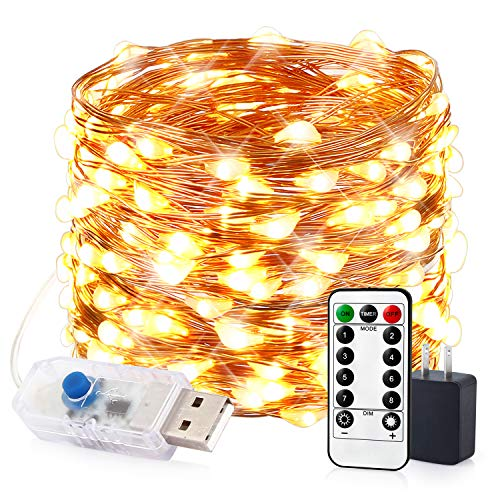 innotree LED String Lights, 33ft 100 LED USB Plug in Fairy Lights, 8 Modes Dimmable Copper Wire Lights with Remote Control + UL Adapter for Bedroom, Patio, Parties(IP65 Waterproof, Warm -
