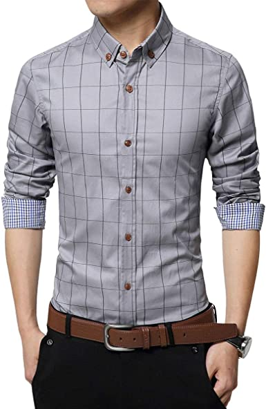 MOUTEN Mens Slim Long Sleeve Plaid Print Casual Button Down Dress Checkered Shirt