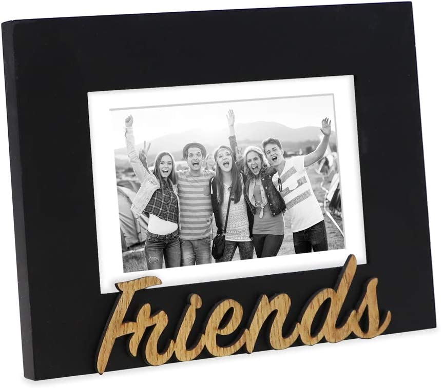 "Isaac Jacobs Black Wood Sentiments ""Friends"" Picture Frame, 5x7 inch with Mat, Photo Gift for Friend, Display on Tabletop, Desk (Black, 5x7 (Matted 4x6))"