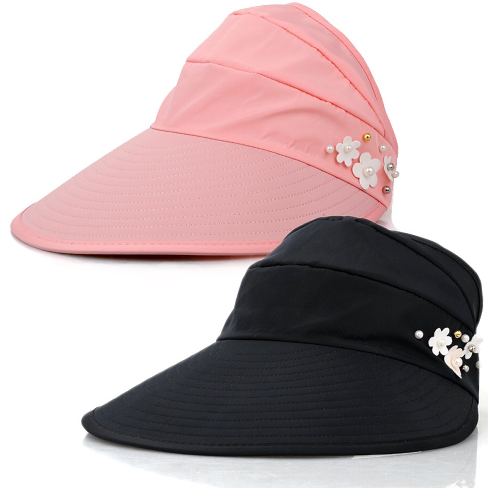 Sun Hats Women Wide Brim UV Protection Summer Beach Packable Visor (Black+Pink)