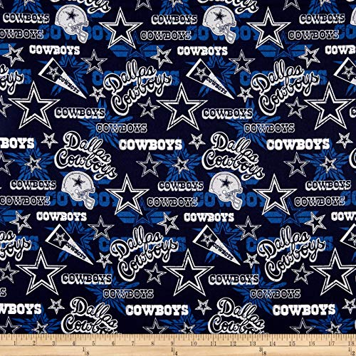 Traditions NFL Cotton Broadcloth Dallas Cowboys Retro Blue, Fabric by the Yard (Cowboys Fabric Dallas)