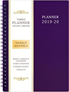 """2019-2020 Academic Planner - Weekly & Monthly Planner, 6.25"""" x 8.3"""", Flexible Cover,12 Monthly Tabs, 21 Notes Pages, Twin-Wire Binding with Two-Sided Inner Pocket"""