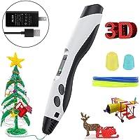 MoKo Plumas para impresión 3D, Lápiz 3D con Pantalla LED, Filamento PLA/ABS, Control de Velocidad de 8 Niveles y Temperatura, Bolígrafo 3D sin Obstrucciones Niños y Adultos - Negro + Blanco