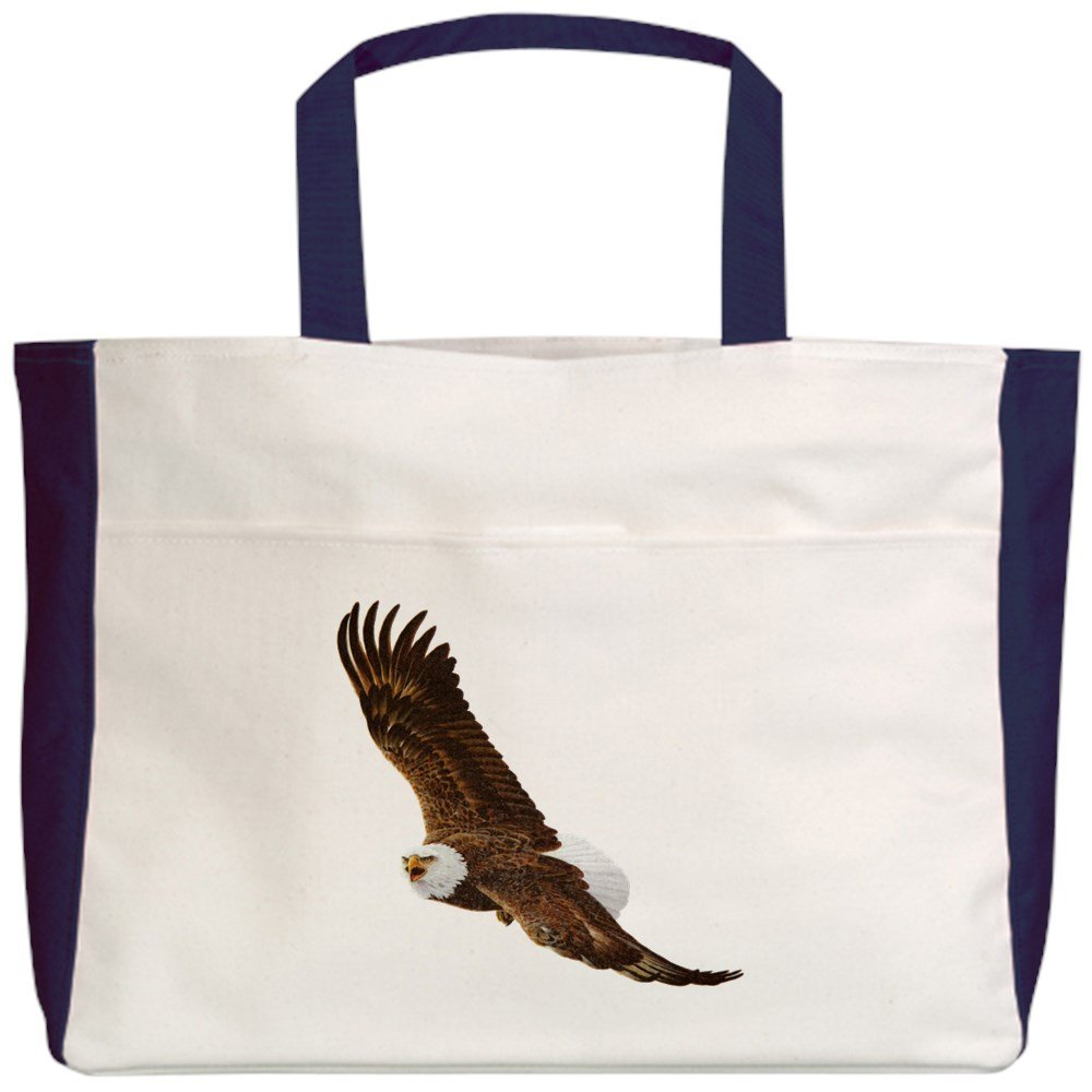 Bald Eagle Flying Royal Lion Beach Tote 2-Sided