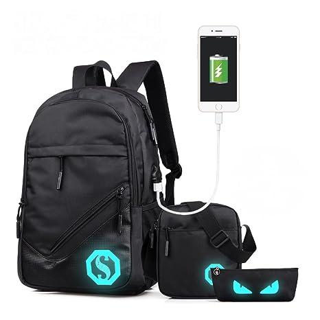 Mfshiye Mochila USB Recargable Bolsa de la Escuela fijado Tela Oxford portátil Daypacks Mochilas Hombro Federmäppche