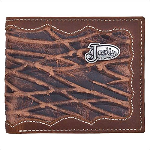 Distressed Embossed Belt (JUSTIN BROWN TAN EMBOSSED LEATHER TRIM WESTERN MENS BIFOLD WALLET 6 CARD)