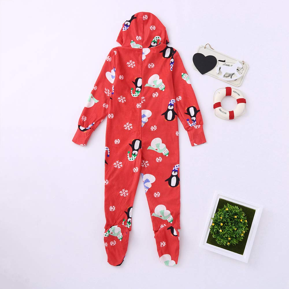 e1fee459ca13 Family Matching Footed Pajamas Christmas Snowflake Hooded Fleece ...