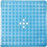FeschDesign Shower Mat Non Slip | Non-Toxic (BPA-Free) & Anti-Bacterial | Bath Tub Mat with Original GripTight (TM) Technology & Powerful Suction Cups | 21'' x 21'', Clear Blue